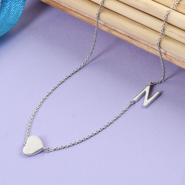 Personalised Single Alphabet + Heart, Name Necklace in Silver, Size 18+2 Inch