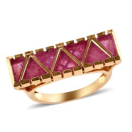 GP African Ruby and Blue Sapphire Ring in 14K Gold Overlay Sterling Silver 5.00 Ct.