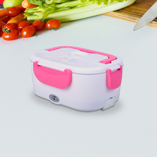 Portable Electric Heating Lunch Box in White & Pink (Size:23.5x16.5x10.5cm)
