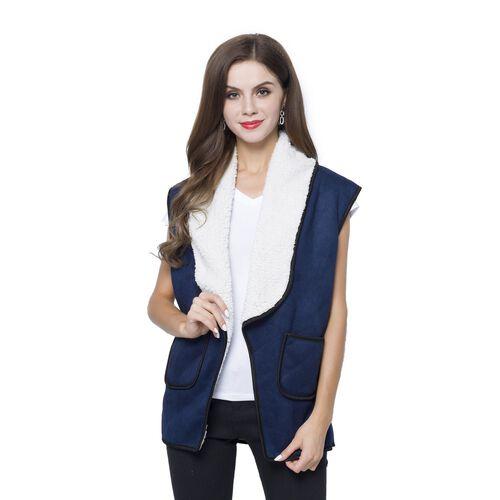 New Season - Navy and White Colour Drape Collar Sherpa Gilet (Size 80X50 Cm - Free Size) with Pocket