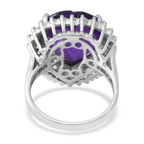 Zambian Amethyst (Hrt 15.20 Ct), Natural White Cambodian Zircon Ring in Rhodium Overlay Sterling Silver 17.120 Ct, Silver wt 5.30 Gms.