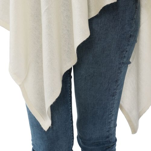 Limited Available - 100% Himalayan Pashmina Wool Poncho - Cream Colour (Free Size/70x70Cm)
