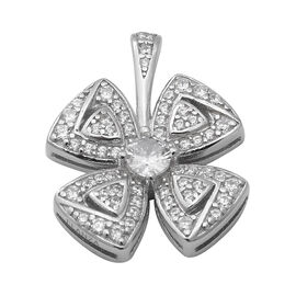 ELANZA AAA Simulated Diamond 4-Leaf Clover Pendant in Rhodium Overlay Sterling Silver