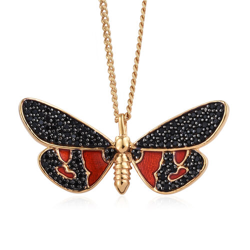 Boi Ploi Black Spinel (Rnd) Enameled Butterfly Pendant With Chain (Size 20) in 14K Yellow Gold and Black Overlay Sterling Silver 1.500 Ct, Silver wt 6.12 Gms.