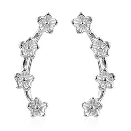 Platinum Overlay Sterling Silver Flower Climber Earrings