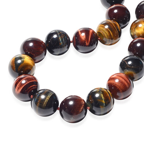 Multi Colour Tiger Eye Beads Necklace (Size 20 with 2 inch Extender) in Rhodium Overlay Sterling Silver 1346.50 Ct.