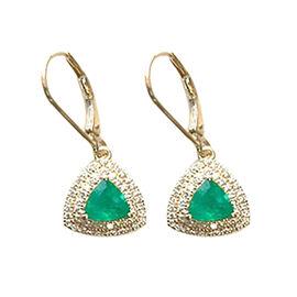 ILIANA 18K Yellow Gold AAA Boyaca Colombian Emerald (Trl), Diamond (SI/G-H) Lever Back Earrings 1.70