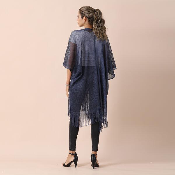 JOVIE Lurex Kimono with Tassel (Size:90x90cm) -Blue
