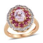 Kunzite (Ovl), Burmese Ruby, Natural Cambodian Zircon Ring (Size T) in 14K Gold Overlay Sterling Silver 3.00