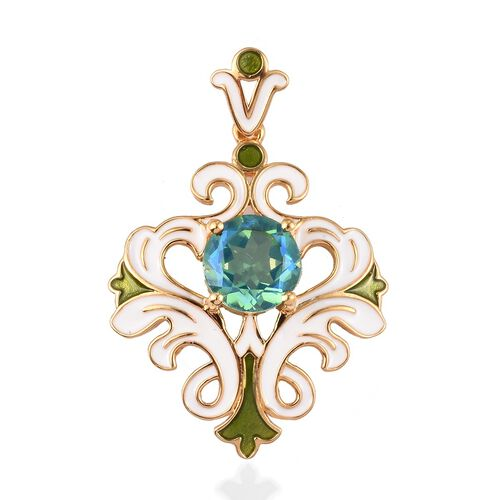 GP Peacock Quartz and Blue Sapphire Pendant in 14K Gold Overlay Sterling Silver 2.77 Ct