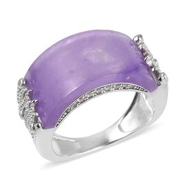 7.73 Ct Purple Jade and White Zircon Band Ring in Sterling Silver 4.5 Grams