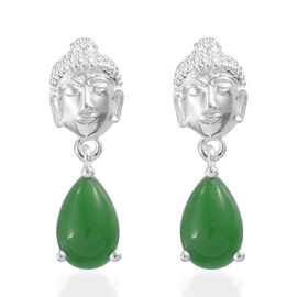 Green Jade (Pear) Earrings (with Push Back) in Sterling Silver 3.000 Ct.