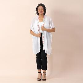 JOVIE Chiffon Kimono with Floral Printed Border (Size 80x85cm) - White