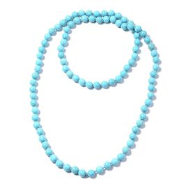 895 Carat Blue Howlite Beaded Necklace 46 Inch