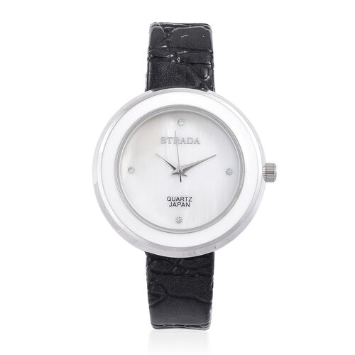 STRADA Japanese Movement White Austrian Crystal Studded MOP Dial Water Resistant Watch in Silver Tone with Black Colour Strap