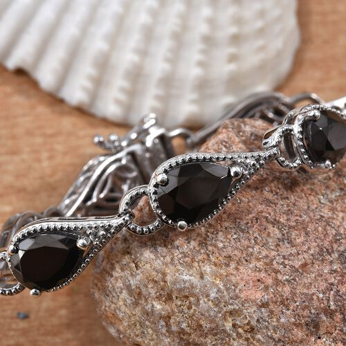 Elite Shungite (Pear 10x7 mm), Natural Cambodian Zircon Bracelet (Size 7.25) in Platinum Overlay Sterling Silver 9.250 Ct, Silver wt 15.28 Gms
