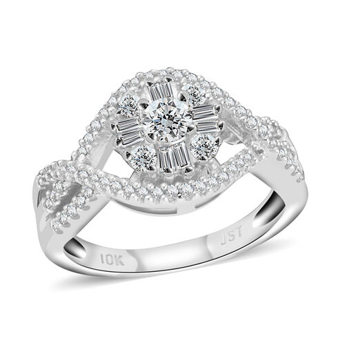 New York Close Out- 10K White Gold Diamond (Rnd) (G-H I1/I2 ) Ring 0.500 Ct.