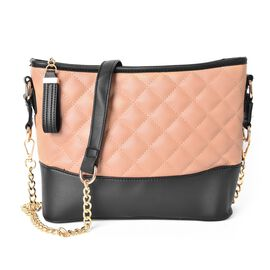Designer Inspired-Black and Beige Colour Diamond Pattern Crossbody Bag with Removable Chain Strap (Size 27.5X22X8 Cm)