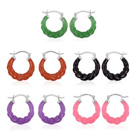 Set of 5 - Multi Colour Burmese CARVED Jade Hoop Earrings (with Clasp) in Rhodium Plated Sterling Silver 62.500 Ct.Silver Wt 10.00 Gms