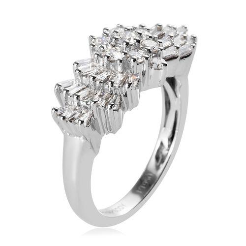 RHAPSODY 950 Platinum IGI CERTIFIED Diamond (Bgt and Rnd) (VS/E-F) Ring 1.005 Ct., Platinum wt. 6.00 Gms