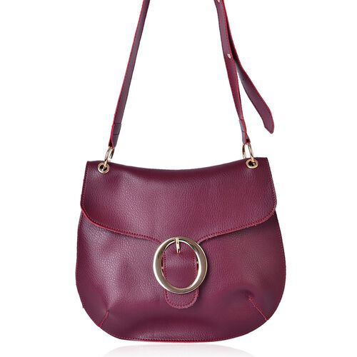 Red Wine Colour Crossbody Bag with Adjustable Shoulder Strap (Size 29X25 Cm)