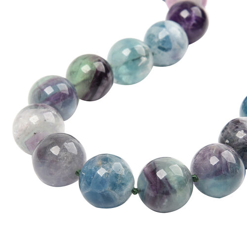 Multi Fluorite Beaded Necklace (Size 20 with Extender) in Rhodium Overlay Sterling Silver