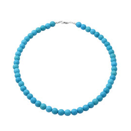 Blue Howlite Beaded Necklace (Size 18) in Sterling Silver - 150 Carats