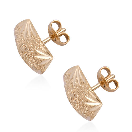Royal Bali Collection 9K Yellow Gold Diamond Cut Stud Earrings (With Push Back) Gold Wt. 1.86 Gms.