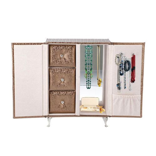 Wardrobe Design Jewellery Organiser with 3 Removable Drawers, 1 Mirror, 6 Hooks and Pocket (Size 17x