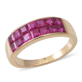 ILIANA 18K Yellow Gold AAAA Burmese Ruby (Princess Cut Half Eternity Band Ring Invisible Setting 3.000 Ct, Gold wt 5.80 Gms.
