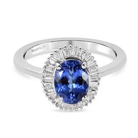 RHAPSODY 950 Platinum AAAA Tanzanite and Diamond (VS/E-F) Ring 1.500 Ct.