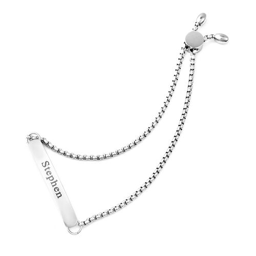 Personalise Engraved Bar Bolo Bracelet in Silver Tone