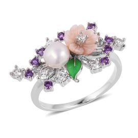 JARDIN COLLECTION - Fresh Water White Pearl, Pink Mother of Pearl, Amethyst and Multi Gemstone Enameled Floral Ring in Rhodium Overlay Sterling Silver