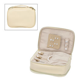 Portable Jewellery and Cosmetic Organiser with Zipper Closure (Size 24x17x9 Cm) - Cream