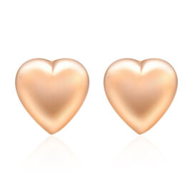 9K Rose Gold Heart Shape Stud Earrings (With Push Back).