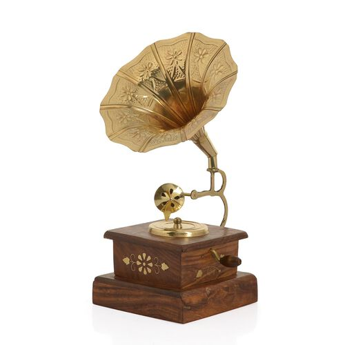 Hand Made - Wooden Square Gramophone with B/W (Size 5 inch)