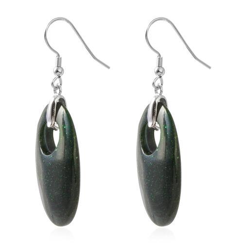 Green Sandstone Oval Hook Earrings in Rhodium Plated Sterling Silver 42.500 Ct.