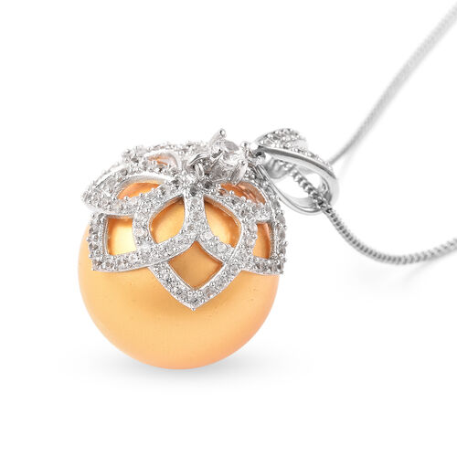 Hallitois Asinina Golden Pearl (Very Rare Size Rnd 18) and Natural Cambodian Zircon Pendant with Chain (Size 18) in Rhodium Overlay Sterling Silver