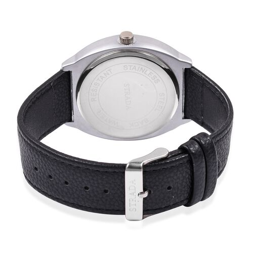 STRADA Japanese Movement Silver Grey Colour Plated Water Resistant Watch with Ash Black Colour Literal and Strap.