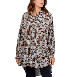 Nova of London 100% Viscose Zebra Pattern High Low Shirt Size 81x90Cm - Grey