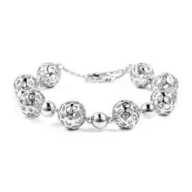 RACHEL GALLEY Globe Alternate Beaded Bracelet in Silver 21.20 Grams 7.5 to 8.5 Inch
