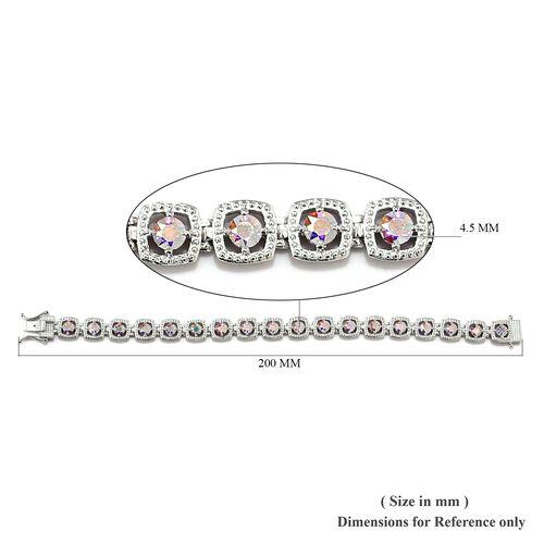 J Francis - Crystal from Swarovski AB Crystal (Rnd) Bracelet (Size 7.5) in Platinum Plated