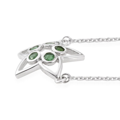Kimberley Lotus Spice Collection - Kagem Zambian Emerald (Rnd) 5 Stone Star Pendant with Chain (Size 18) in Platinum Overlay Sterling Silver