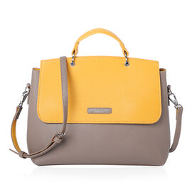 Designer Close Out Deal- Chinllo Fashion Boutique Flap Shoulder Bag - Grey and Mustard