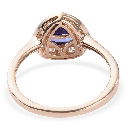 9K Yellow Gold AAA Tanzanite and Diamond Halo Ring 1.00 Ct.