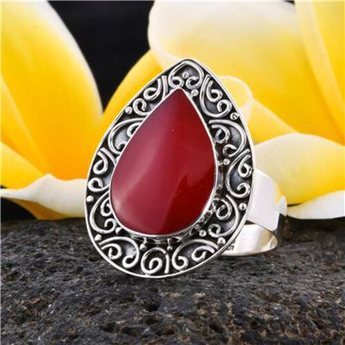 Royal Bali Collection - Red Sponge Coral Ring in Sterling Silver, Silver wt 4.42 Gms