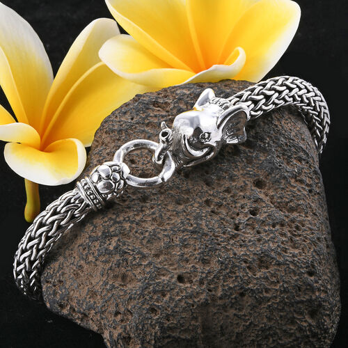 Royal Bali Collection Sterling Silver Elephant Head Tulang Naga Bracelet (Size 7.25), Silver wt 58.43 Gms.