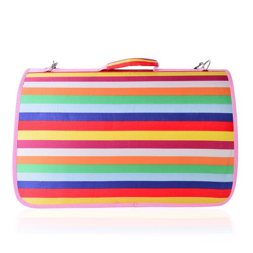Pink, Green and Multi Colour Stripes Pattern Pet Carrier (Size 50X28x27 Cm) with Shoulder Strap