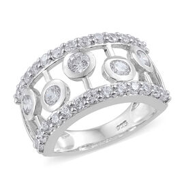 J Francis Made with Swarovski Zirconia Band Ring in Sterling Silver 5.11 Grams