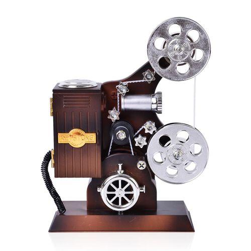 Home Decor - Silver and Chocolate Colour Movie Projector Design Music Box (Size 25X15.5X14.5 Cm)